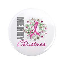 "PinkRibbonWreath 3.5"" Button"