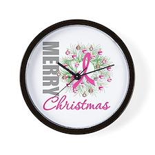 PinkRibbonWreath Wall Clock