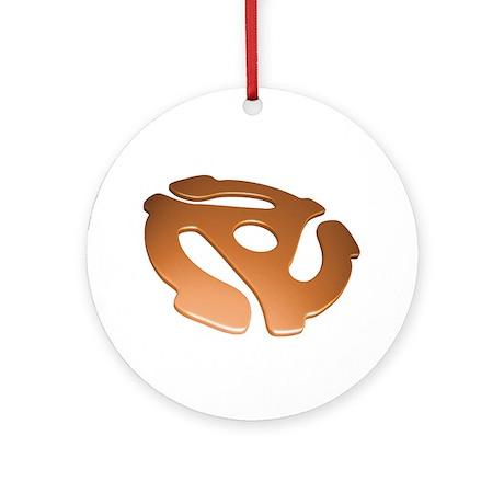 Orange 3D 45 RPM Adapter Round Ornament