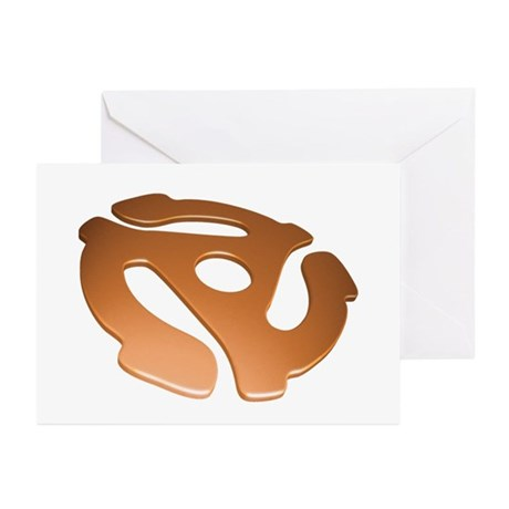 Orange 3D 45 RPM Adapter Greeting Cards (Pk of 10)