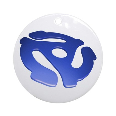 Blue 3D 45 RPM Adapter Round Ornament
