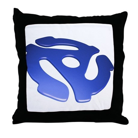 Blue 3D 45 RPM Adapter Throw Pillow