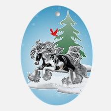 Gypsy Vanner Winter Oval Ornament