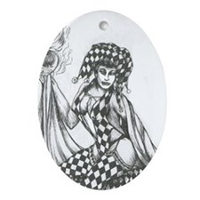 Sexy jester Oval Ornament