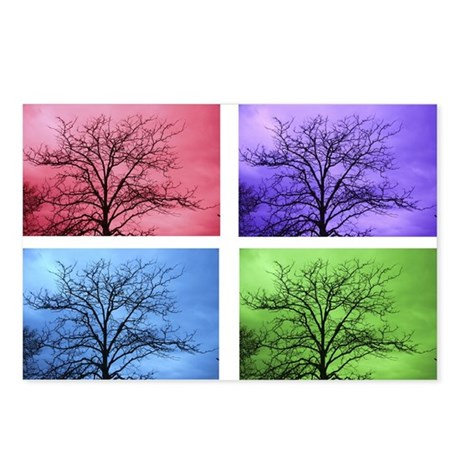 Stormy Trees White Frame Postcards (Package of 8)