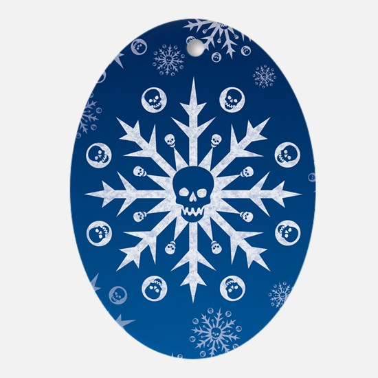 Skullflake (blue) Oval Ornament
