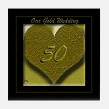Cheers on Our Gold Wedding! Tile Coaster