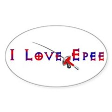 I Love Epee Oval Decal