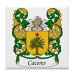 Caceres Family Crest Tile Coaster