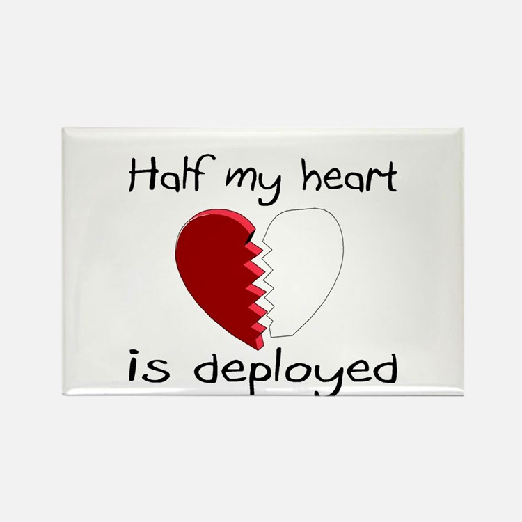 Half My Heart Is Deployed Rectangle Magnet
