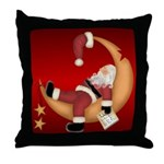Santa on the Moon Throw Pillow