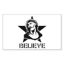 Jesus Believe Star Rectangle Decal