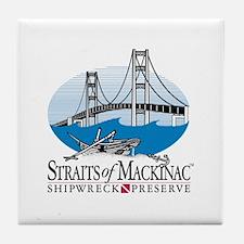 Mackinac Bridge logo Tile Coaster