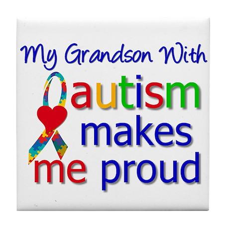 Autism Proud Ribbon Tile Coaster