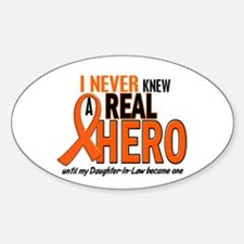 Never Knew A Real Hero 2 ORANGE Oval Decal
