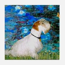 Lilies (#3) / Sealyham (L1) Tile Coaster