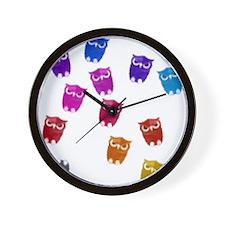 Rainbow owls Wall Clock