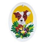 Jack Russell Terrier Dog Christmas Oval Ornament