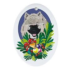 Keeshond Dog Christmas Oval Ornament