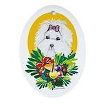 Maltese Dog Christmas Oval Ornament