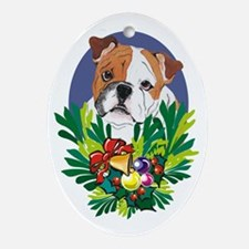 Bulldog Dog Christmas Oval Ornament