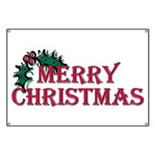 Merry Christmas Holly Banner