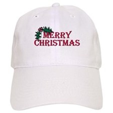 Merry Christmas Holly Baseball Cap