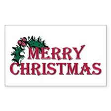 Merry Christmas Holly Rectangle Decal