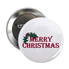 """Merry Christmas Holly 2.25"""" Button (100 pack)"""