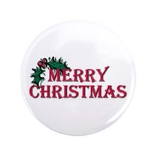 """Merry Christmas Holly 3.5"""" Button"""
