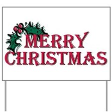 Merry Christmas Holly Yard Sign