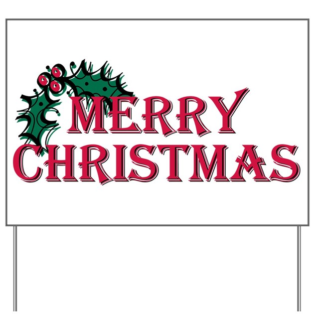 Merry Christmas Holly Yard Sign by DavetDesigns