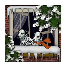 DALMATIAN DOGS WINTER WINDOW Tile Coaster