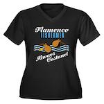 Flamencofish Women's Plus Size V-Neck Dark T-Shirt