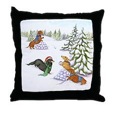 Snowball Fight Dachshunds Throw Pillow