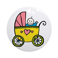 Baby in the Pram Ornament (Round)