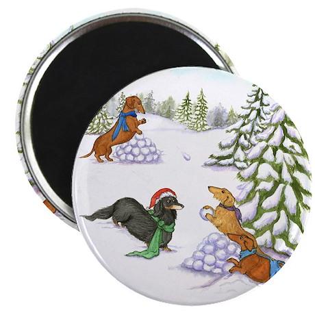 Snowball Fight Dachshunds Magnet