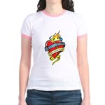 Down Syndrome Tattoo Heart Jr. Ringer T-Shirt