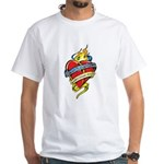 Down Syndrome Tattoo Heart White T-Shirt