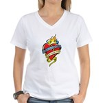 Down Syndrome Tattoo Heart Women's V-Neck T-Shirt