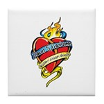 Down Syndrome Tattoo Heart Tile Coaster