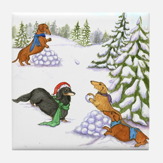 Snowball Fight Dachshunds Tile Coaster
