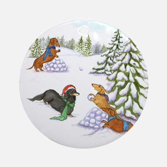 Snowball Fight Dachshunds Ornament (Round)