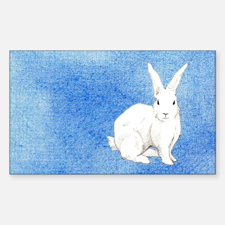 Rabbit Blue Rectangle Decal