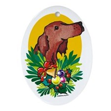 Irish Setter Christmas Oval Ornament