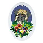 Pug Dog Christmas Oval Ornament