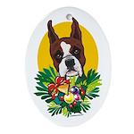Boxer Dog Christmas Oval Ornament
