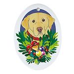 Yellow Lab Labrador Dog Christmas Oval Ornament