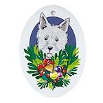 Westie Dog Christmas Oval Ornament