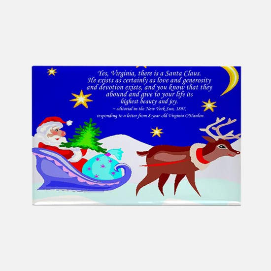 Santa Rudolf Reindeer Christmas Rectangle Magnet